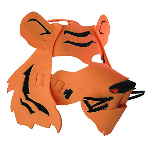 Tiger Mask with Elastic Great for Halloween, Sporting Events, Having Fun - One Size Fits Adults & Children - Orange & Black -