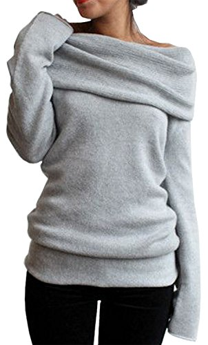 Merryfun Women's Spring Off-Shoulder Pullover Sweater Bottoming Shirt, Grey S - Bottoming Sweater