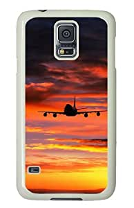 Samsung Galaxy S5 Case, Samsung Galaxy S5 Cases -Landing Plane Sunset PC case Cover for Samsung S5 and Samsung Galaxy S5 White