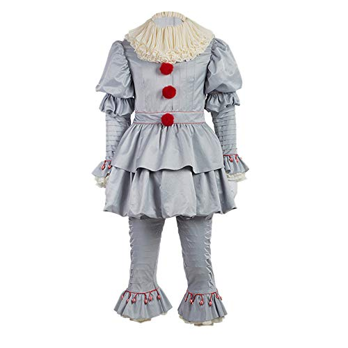 Scary Cosplay Costumes (Scary Clown Costume Deluxe Movie Cosplay Costume Outfit Full Set Adults Kids (Male)