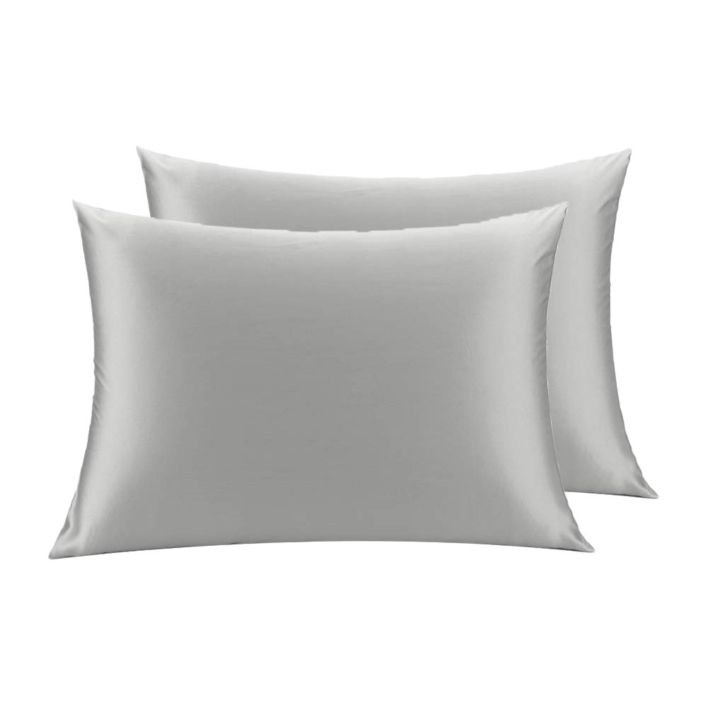 LULUSILK Mulberry Silk Pillowcase for Hair and Skin Standard Size Silvergrey Pillow Cover for Wrinkle Zipper Closure 19 Momme 2pcs