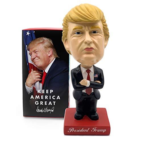 President Donald Trump Bobblehead • Mini Size w/ Nodding Head • Vehicle Dashboard Attachment Kit Included