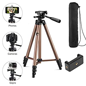 Syvo-WT-3130-Aluminum-Tripod-50-Inch-Universal-Lightweight-Tripod-with-Mobile-Phone-Holder-Mount-Carry-Bag-for-All-Smart-Phones-Gopro-Cameras