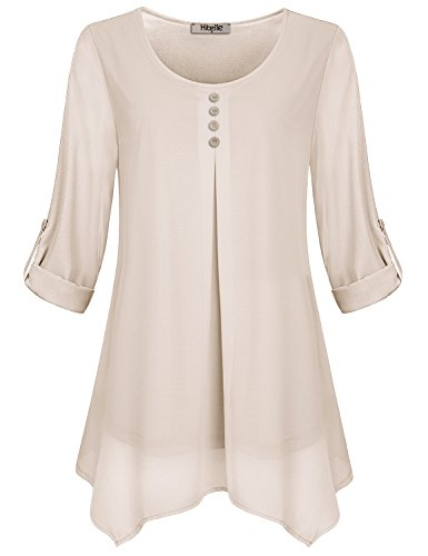 Layered Chiffon (Hibelle Loose Fitting Tops For Women, Ladies Dressy Tunic Shirts Long Sleeve Tiered Layered Chiffon Blouses Drape Trapeze Casual Wear Zulity Cozy Pleats Swing Tee Fall Beige XLarge XL)