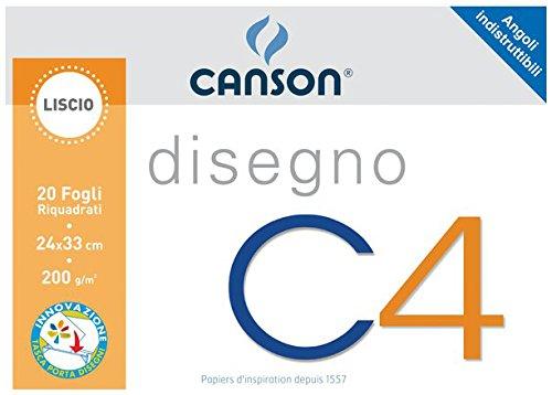 Canson 100500451 Album da Disegno C4, Liscio Riquadrato, 24 x 33 cm, 200 G/Mq, 20 Albumdadisegnoecartoncini Blocchi