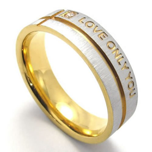 KONOV Mens Stainless Steel LOVE ONLY YOU Promise Ring Wedding Bands, Size 8