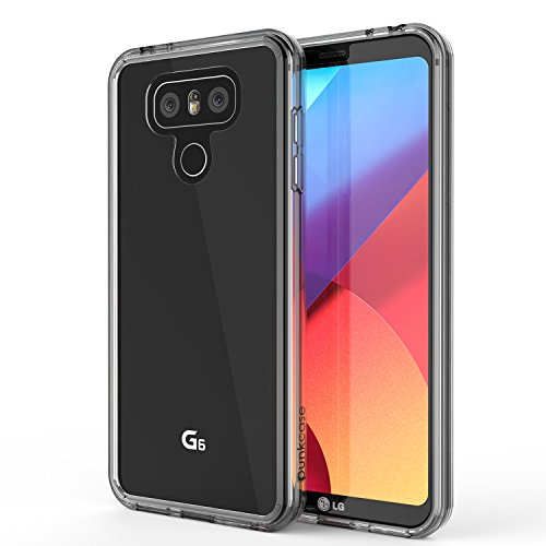 LG G6 Case, PUNKcase [LUCID 2.0 Series] [Slim Fit] [Clear Back] Armor Cover w/Integrated Anti-Shock System & Tempered Glass PUNKSHIELD Screen Protector for LG G6 [Black] (Lg Lucid 2 Phone Cases)