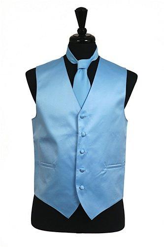 Men's Dress Vest NeckTie Handkerchief BABY BLUE Neck Tie