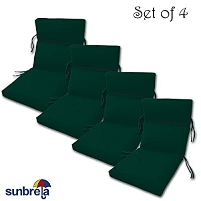 "Comfort Classics Inc. Set of 4 Outdoor CHANNELED Chair Cushions 22W x 44L x 3H Hinge at 24"" in Sunbrella Fabric"