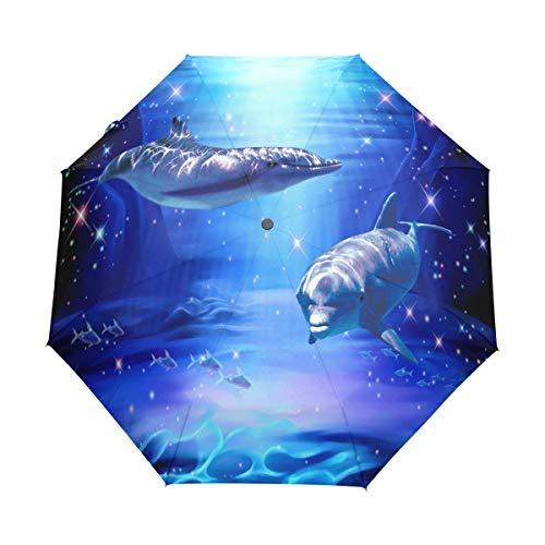 Magical Dolphin Couple Auto Open Close Handle Umbrella Cute Woodproof Compact Rain Umbrella by THENAGD