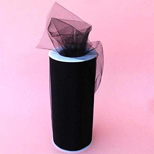 Black Fabric Spool - Gifts International Tulle Fabric Spool/Roll 6-Inch X 25 yards (75-Feet), Black (02)