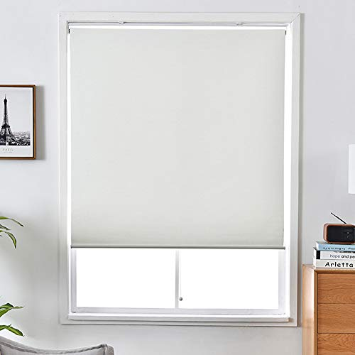 """ALLBRIGHT Cordless Spring System Roller Shades with UV Protection Thermal Roller Blinds Darkening Blackout Curtain for Windows (White, 24""""W x 72""""H)"""