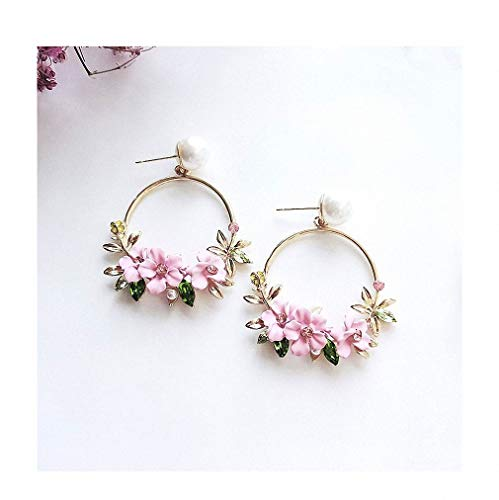 Womens New Summer Elegant Big Circle Flower Drop Earrings for Women Fashion Simulated Pearl Rhinestone Boucle D'oreille pink