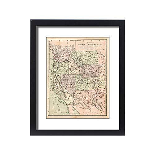 Media Storehouse Framed 20x16 Print of Pacific States USA map 1881 (14756086)