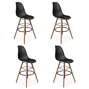 Lot Tabouret De Bar.Idmarket Lot De 4 Tabourets De Bar Sara Noir Decoration De