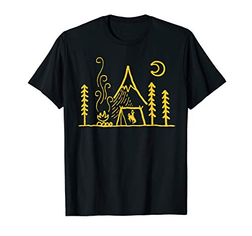 Wyoming Cowboys Camping - Simple Tent T-Shirt - Apparel