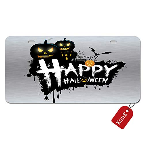 EnnE Personalized Metal License Plate Cover Happy Halloween For Car 2 Holes Car Tag 11.8 inch X 6.1 inch