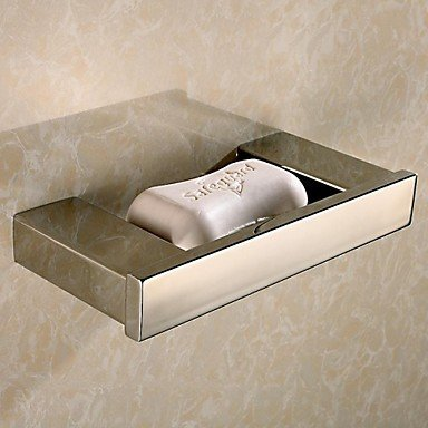 DIDIDD Shelf-Contemporary Mirror Polished Finish Brass Material Soap Dish,Silver (Modern Brass Steel Polished Picture)