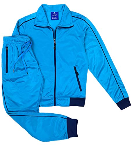 Women's Athletic Sports Exertion Tracksuit Outfit Trackpant and Track Jacket Jogger Gym Casual Wear Set (Aqua Blue, S) ()