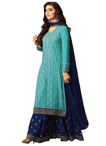 Ready Made Designer Indian/Pakistani Ethnic wear Georgette Plaazo Salwar kameez (Sky Blue, L-42)