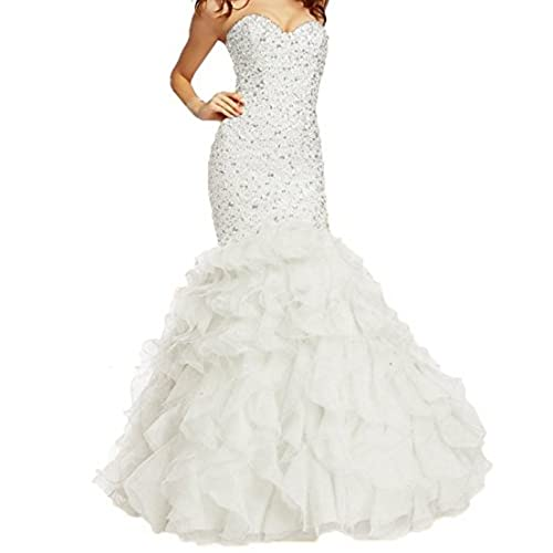 Fllbridal Womens Beaded Sweetheart Lace up Mermaid Prom Dresses 2017 XC009 White US16