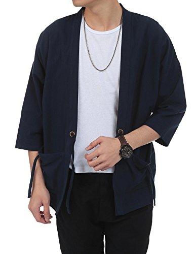 Linen Silk Coat - Simbama Men's Cotton Linen Blends Vintage Cloak Open Front Coat