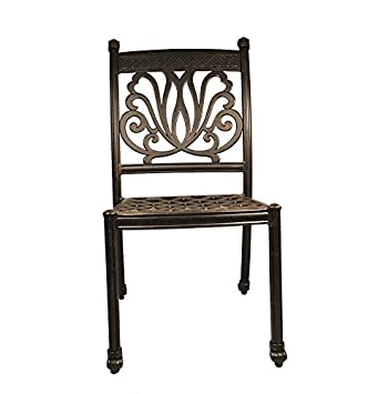 armless cast aluminum outdoor patio dining chair with seat cushion u2013 desert bronze