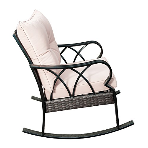 SunLife Outdoor Indoor Aluminum Rocking Chair, Patio Garden Cafe Glider Lounge Armchair with Beige Cushion, Black