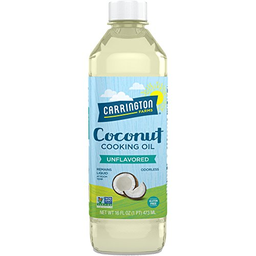 Carrington Farms gluten free, hexane free, NON-GMO, free of hydrogenated and trans fats in a BPA free bottle, liquid coconut cooking oil, unflavored, 16oz (ounces) (Egg And Coconut Oil For Hair Loss)