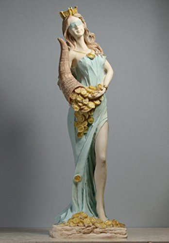 Goddess of Wealth Tyche Lady Luck Fortuna Statue Alabaster Sculpture (White Alabaster Statue)