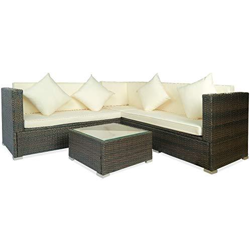 (Wicker Sofa Leisure Zone Big Beige Cushion Outdoor Rattan Wicker Patio Sofa Conversation Furniture Set, 4 Piece)