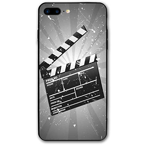 Compatible with iPhone 7 Plus Case & iPhone 8 Plus Case, Clapper Board On Retro Backdrop with Grunge Effect Director Cut Scene,Soft Rubber Phone Case Cover
