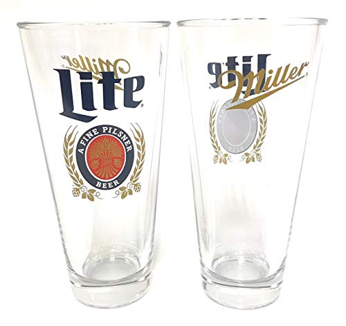 Miller Lite 2018 Signature - 16 Ounce Pint Glass - Set of 2