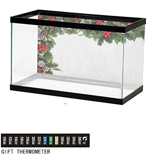 Jinguizi ChristmasFish Tank BackdropWinter Frame with Holly Ivy Mistletoe Spruce Fir and Pine Cones Arrangement Image24 L X 16