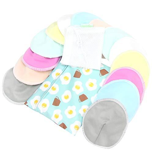 Bamboo Nursing Pads (14 Pack)+Laundry Bag & Travel Bag, Size: 4.7 inch Option - Contoured Washable & Reusable Breast/Breastfeeding Pads (Elegant, Large, Contoured Shape)