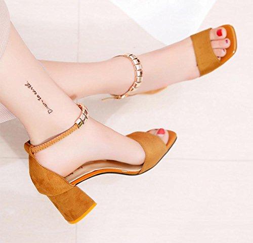 Gurt Sommer offenem mit Wort dick Yellow Schuhfrauensandelholze Sandalen Schuhe Zehen hochhackigen 8wfr8g