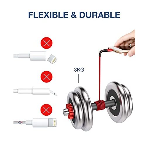 JSAUX Lightning iPhone Charger Cable, [Apple MFi Certified] 1.8M/6ft Nylon Braided Lead USB Fast Charging Cable Cord Compatible with iPhone 11 XS Max X XR 8 7 6s 6 Plus SE 5 5s 5c, iPad, iPod – Red