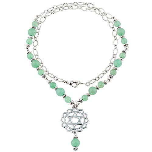 TUMBEELLUWA Beads Necklace Crystal Healing Quartz Chakra Symbol Energy with Alloy Charm Stone Jewelry,Green Aventurine