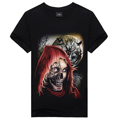 [Devil Skull Face Mens Casual Style Black Cool Cotton Summer Tee XL] (Devil Costums)