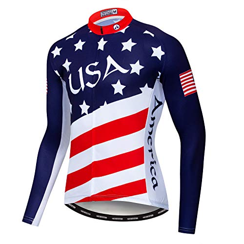 Men's Cycling Jersey Long Sleeve Pro Brand Team Reflective Bicycle Shirts Jacket USA (Best Cycling Clothing Brands 2019)