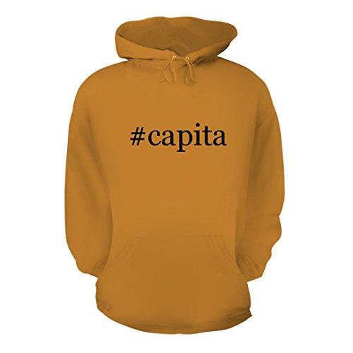 #capita - A Nice Hashtag Men's Hoodie Hooded Sweatshirt, Gold, Large (Capita Hat)