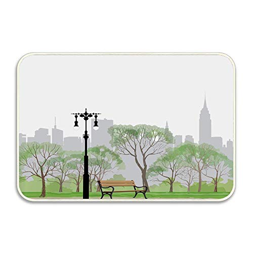 Scene Central Park - Central Park Scene with Bench and Trees Skyscraper Silhouettes American Landscape Doormat Indoor Outdoor Waterproof Easy Clean Low-Profile mat for Entry Garage Patio High Traffic Areas