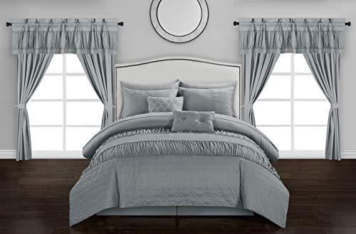 Chic Home Mykonos 20 Piece Comforter Set, Queen, Grey