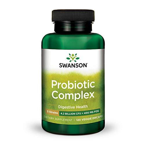 Swanson Probiotic Complex 4.2 Billion CFU 5-Strain Digestive Health Fat Metabolism Satiety Prebiotic FOS Complex Supplement 120 Veggie - Ultra Swanson