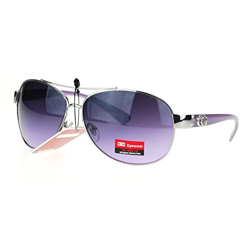 CG Eyewear Womens Designer Fashion Diva Aviator Sunglasses Silver - Purple Sunglasses Designer