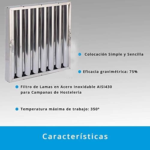 Quickware Filtro para Campana | de Lamas | Material de Acero Inoxidable AISI430 | Medidas (490x490x48mm) | para Campanas de Hostelería y Cocinas Industriales: Amazon.es: Hogar