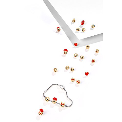 2018 Fashion Emoji Jewelry Countdown Calendar 15 Beads+8 Cute Earrings for Kids DIY Bracelets Birthday Gift (set)