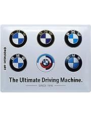 Nostalgic-Art Metalen Retro Bord, BMW – Logo Evolution – Geschenkidee voor liefhebbers van autoaccessoires, van metaal, Vintage ontwerp, 30 x 40 cm
