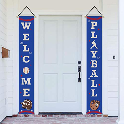 (AVOIN Baseball Theme Porch Sign Welcome Playball, Sport Birthday Party Photo Prop Booth Backdrop Hanging Banner Flag for Yard Indoor Outdoor Party 12 x 72 Inch)