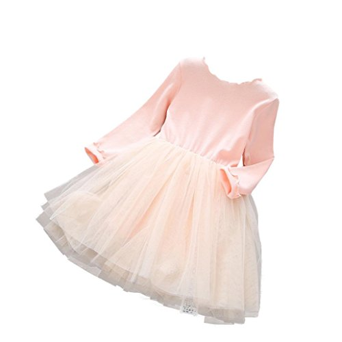 Kids Fancy Dress Ideas (Lifestyler Fashion Casual Princess Dress Girls Long Sleeve O-Neck Ball Gown Mesh Dress (120, Pink))